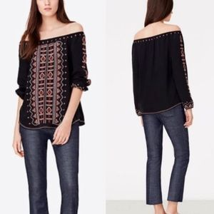 Tory Burch Jessie Bracelet Sleeve Embroidered Top